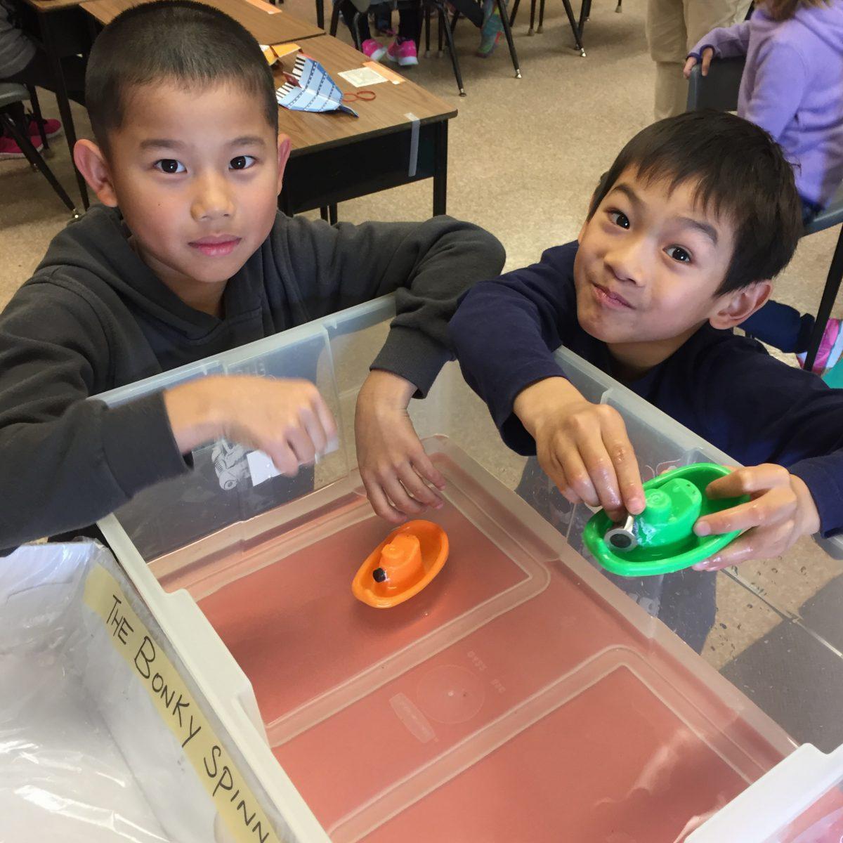 Learning about buoyancy in grade 3.